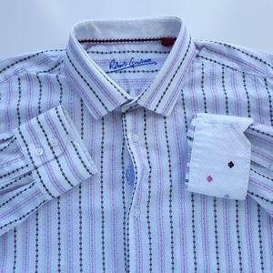 Robert Graham Mens XL 17.5 I 44 Striped Shirt